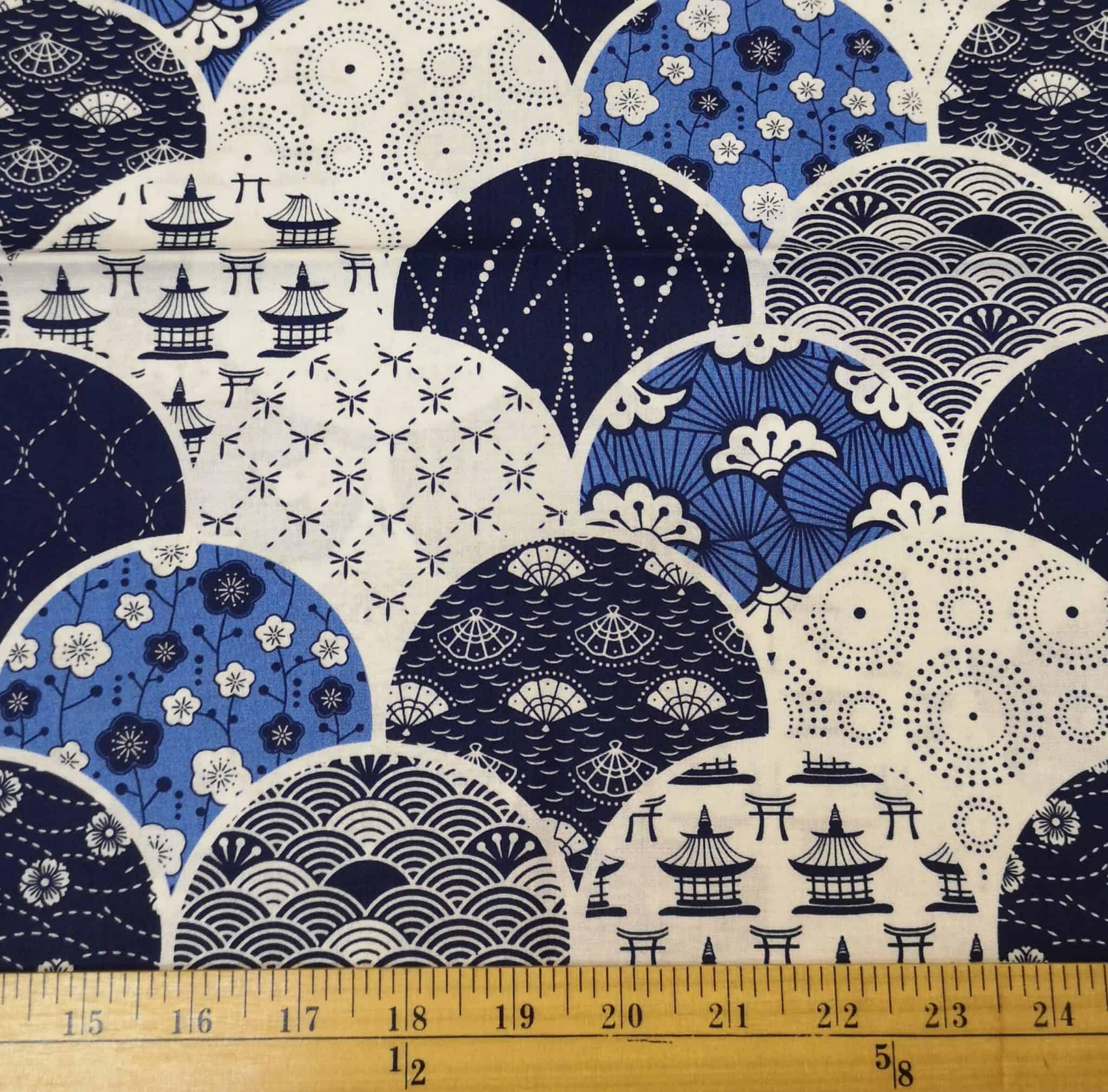 "Pre Cut Charm Squares Kimono Blue Stuart Hillard 20 5/"" x 5/"" 100/% Cotton Fabric"