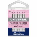 Sewing Machine Needles: Universal: Fine 70/10: 6 Pieces