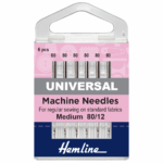 Sewing Machine Needles: Universal: Medium 80/12: 6 Pieces