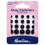 Black Snap Fasteners: Sew-on Assorted: Pack of 20.